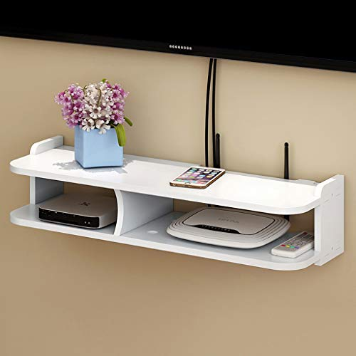 Wandmontage TV Plank Wandplank Zwevende Plank Router Set Top Box Plank TV Achtergrond Wanddecoratie Plank TV Stand TV Console Wit, 50CM