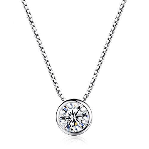 Gywttg Collar De Mujer, Collar Solitario Plata Esterlina 925 Collar Chapado En Oro Blanco Collar De Diamantes Longitud De Cadena: 45 Cm,Blanco