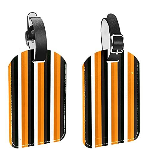 Etichette per borse da viaggio e bagagli per uomo Strisce di zucca di Halloween Etichette per bagagli in materiale PU Etichette per borse Accessori 2 pezzi