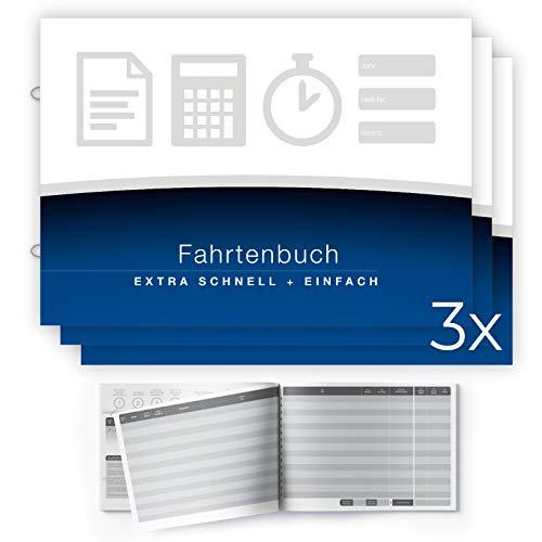 Lobsing Fahrtenbuch - EXTRA schnell ausfüllbar | für insgesamt 1260 Fahrten | mit Ringösen zum Einordnen, A5 Format, für alle KFZ, PKW und LKW, 3er-Pack (3x 64 Seiten)