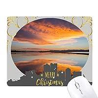 日の出の海の空の雲の反射 クリスマスイブのゴムマウスパッド