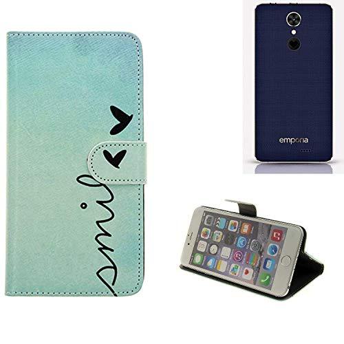 K-S-Trade® Schutzhülle Für Emporia SMART.2 Hülle Wallet Case Flip Cover Tasche Bookstyle Etui Handyhülle ''Smile'' Türkis Standfunktion Kameraschutz (1Stk)