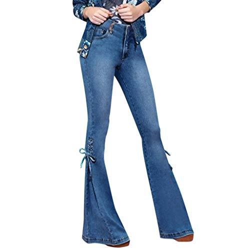 Vectry Mujer Verano Elástico Plus Suelta Denim Bow Casual Boot Cut Pantalón Jeans Jeans Leggings Mujeres Pantalones Pierna Ancha Pantalones Pantalones Vaqueros Mujer