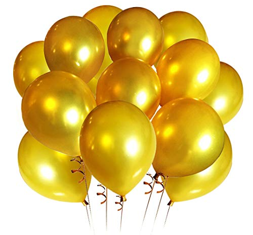 Elecrainbow 100 Count 320 Grams Thickened Gold Balloons for Mothers Day, Fathers Day, Graduate, Birthday, Wedding, Retirement, Anniversary, 12 Inches