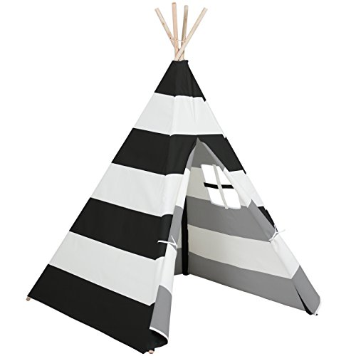Best Choice Products 6ft Kids Cotton Canvas Play Tent Playhouse w/ Carrying Bag - White