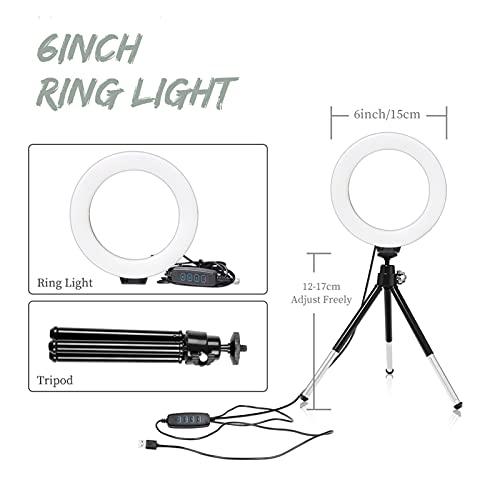 Anillo de luz Mini anillo de selfie de 6 pulgadas de escritorio ligero DIRIGIÓ Lámpara de luz de video con clip de teléfono trípode para Youtuber fotografía fotografía estudio ( Color : SH-HXD-06-2 )