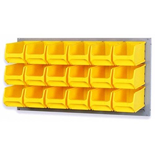 Systemplatte grau 100 x 50cm & 18 Sichtlagerbox Sichtlagerkasten Sichtlagerkiste Lagersichtbox Lagersichtkasten Lagersichtkiste 235x145x125mm gelb