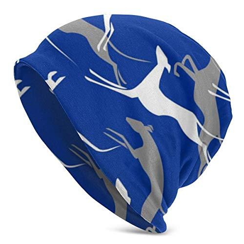 LHB-NANC Saltando Galgos Blue Print Flower Cap Sombreros de cáncer Beanie Stretch Casual Turbans
