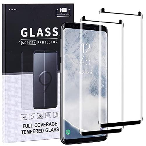 Protector de pantalla de cristal templado para Samsung Galaxy S9 [2 unidades] Samsung S9 de vidrio templado HD, curvado 3D, antiarañazos, alta resolución compatible con Galaxy S9