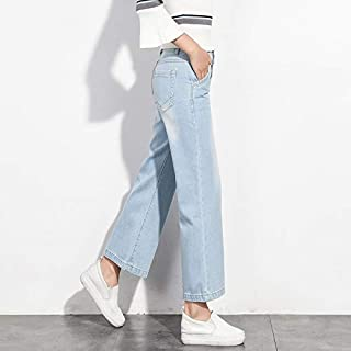 LUKEEXIN Wide Leg Jeans Female Spring and Autumn New Korean Version of The Nine Points high Waist Summer Loose Nine Straight Pants