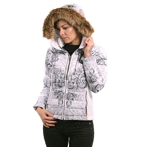 Yakuza Damen Ornamental Skull Winter Teddy Jacke, Weiß, M