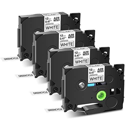"GREENCYCLE 4PK Replacement Black on White Standard Laminated Tape 12mm 0.47"" TZe-231 TZ-231 TZe Label Tape Compatible for Brother PT Cube PT-D200 PT-D210 PT-D400 PT-H100 PT-1230PC Label Makers"
