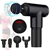 Deep Tissue Massage Gun,Percussion Fascial Gun for Pain Relief,Super Quiet Device,Massagers for Neck and Back,Handheld,6 Speeds,4 Interchangeable Massage Heads (Black)