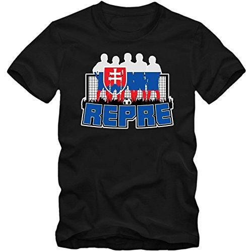 Slowakei WM 2018#7 T-Shirt | Fußball | Herren | Trikot | Repre | Nationalmannschaft, Farbe:Schwarz (Deep Black L190);Größe:XL