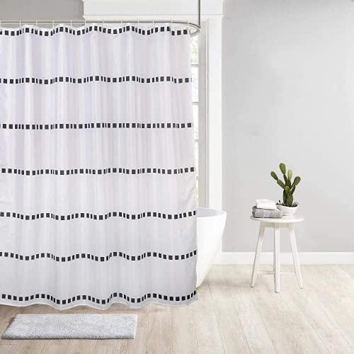 Duschvorhang 120x180 Weiß & Schwarz - antischimmel Wasserdicht - Durchhängendes Design - Waschbar Stoff Polyester Badewanne Vorhang mit 12 Duschvorhangringen (Quadrat, 120 x 180 cm)