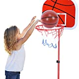 Petyoung Soporte de Baloncesto Sistema de Soporte de Baloncesto Ajustable en Altura Kit de Red de Tablero Trasero de Aro para Niños Y Niñas