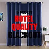 MIUCO 100% Blackout Curtains Room Darkening Drapes for Bedroom Living Room 84 Inches Long Light Blocking Thermal Lined Grommet Window Panels with Valance Tiebacks 5 Pcs Set Hotel Quality Navy Blue