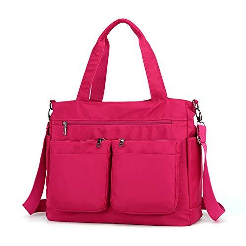POPOTI Bolso Bandolera Mujeres, Bolsas de Hombro Mano Nylon Impermeable Totalizador del Monedero Mochila Escolar Portátil Billetera Multifuncional Crossbody Bag (Rosa)
