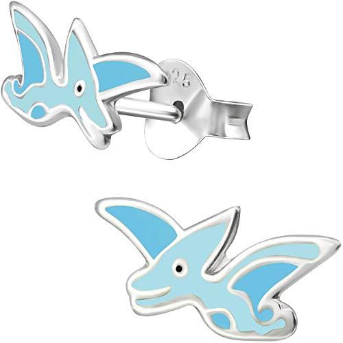 JAYARE Ohrringe Mädchen Dinosaurier 925 Sterling Silber blau Kinder Ohrstecker