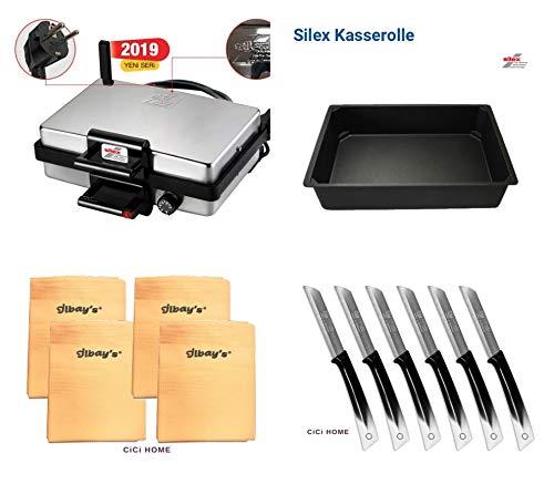 CiCi HOME SILEX ® AKTIONSPAKET Multigrill + Bratpfanne + Ilbays Tücher 4er Set + Solingen Messer 6er Set