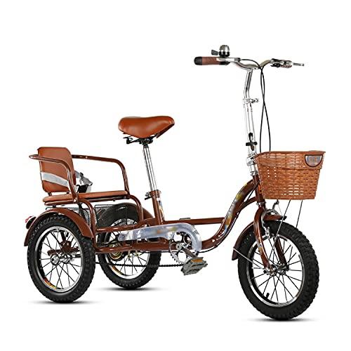 Triciclo para adultos bicicleta 14 Pulgadas De Triciclos Adultos 3 Motos De Ruedas Con Asiento Trasero Y Cesta De Compras Bicicleta De Una Sola Velocidad Para Personas Mayores, Mujeres, Ho(Size:Brown)