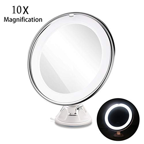 QULONG LED Mirror Light Makeup Mirror,Suction Wall Mount Bathroom Bedroom for Home Travel Best Woman Gift