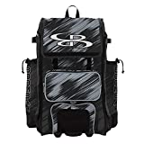 Boombah Rolling Catchers Superpack Baseball/Softball Gear Bag - 23-1/2' x 13-1/2' x 9-1/2' - Scratch Black/Gray - Telescopic Handle and Holds 4 Bats - Wheeled Version