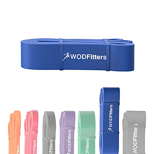 WODFitters Pull Up Assistance Band for Stretching, Mobility Workouts, Warm Up, Recovery, Powerlifting, Home Fitness and Exercise (#5 Blue)