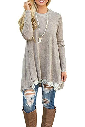 NICIAS Damen Lange Ärmel T-Shirt Pullover Rundhals Spitze Tunika Top Lässige Oberteil Bluse Shirt Leichtes Khaki, Large