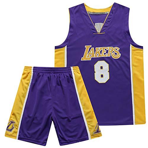 ANMQQ Set Maglie Basket Kobe Bryant # 8,Abiti Basket Ricamati retrò NBA Los Angeles Lakers per Uomo E Donna,Maglietta Estiva Fresca + Pantaloncini Tuta Allenamento,Viola,M