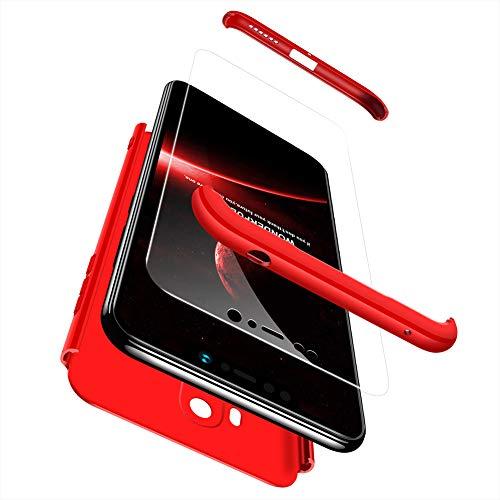 TiHen Funda para Xiaomi Pocophone F1 Funda, Case Bumper 3 en 1 Estructura 360 Grados Integral para Ambas Caras Hard Skin Carcasa, con [Cristal Templado 2 Piezas] para Xiaomi Pocophone F1 - Rojo