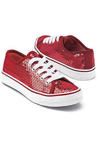 Balera Sequin Low Top Dance Sneakers Red 10CM