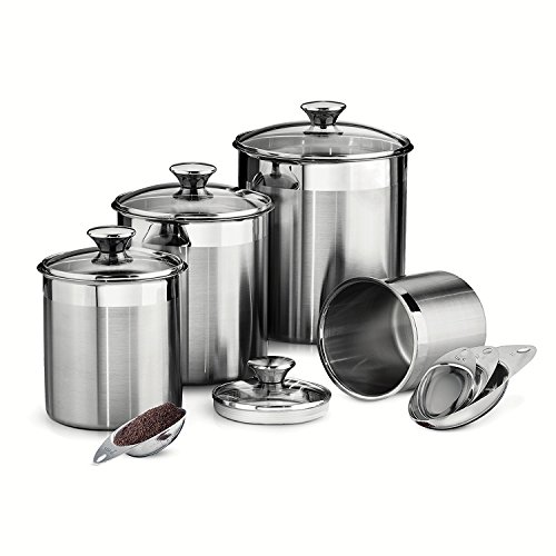 Tramontina 80204/527DS Gourmet Stainless Steel Canister and Scoops Set, 8 Piece, Made in Brazil