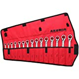 ARUMIN 15-Piece Reversible Ratcheting Wrench Set 12 Point Combination Metric Wrench Set 72-Tooth Ratchet Wrenches 8-22MM