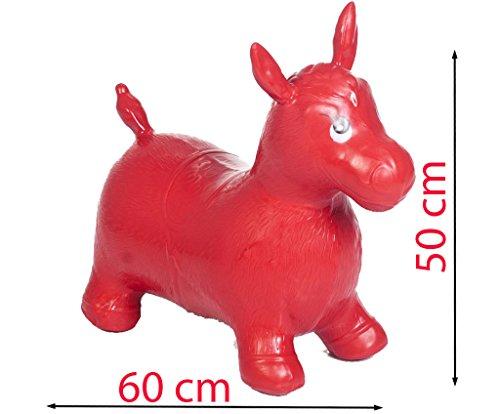 SILUK Springpferd Hüpftier Pferdesound Pumpe Hüpfpferd 50kg belastbar (Rot)