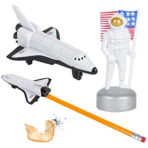 ArtCreativity Astronaut and Space Shuttle Pencil Sharpeners for Kids, Set of 2, Durable Die Cast Metal, Fun School Supplies for Boys and Girls, Space-Themed Birthday Party Favors, Teacher Rewards