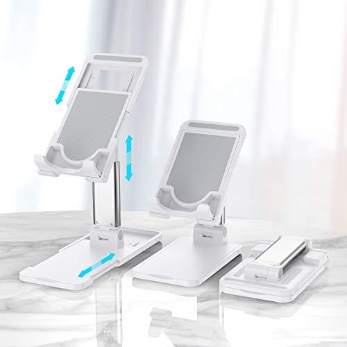 Hapfish Handyhalterung, Handy Ständer - Handyhalter Verstellbar Faltbar Tisch, Tablet Handy Halterung für iPhone 12 11 Pro Xs Max Xr X 8 7 6, iPad, Samsung, Smartphone, Schreibtisch Zubehör – Weiß