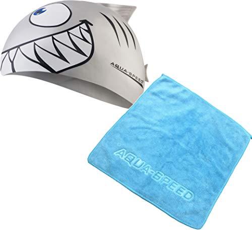 Aqua Speed Set Schwimmhaube Kinder + Mikrofaser Handtuch | Badekappe Mädchen & Jungen | Swim Cap Kids | Schwimmkappe lustig | Bademütze Junge | Badehaube | Hai | Silikon | Silber | Shark