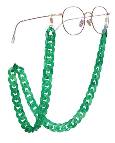 EUEAVAN Retenedor de gafas de acrílico Cadena Gafas de sol Correa Cadena Gafas de lectura Collares Cadena para mujeres y hombres (Pasto verde)