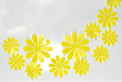 Hacoly 12 pegatinas de pared de flores en 3D de PVC para pared de cristal, ventana, café, hogar, cocina, decoración de obras de arte (amarillo)