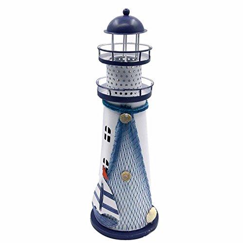 Gosear Luz de Noche Linterna LED Cambio de Color Lámpara de Mesa para Ministerio del Interior (Forma de Faro de Mar Océano de Metal Decorativos,Estilo al Azar)