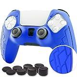 Koete - Carcasa de silicona para mando PS5 Dualsense, funda de mando PS5, accesorio de protección para Playstation 5, protege el mando PS5 de golpes y arañazos, antideslizante + 8 agarres (azul)