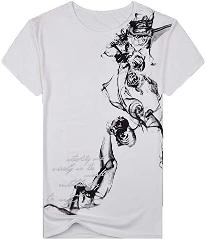 waotier Camiseta De Manga Corta De Hombre Top De Manga Corta con Estampado Chino para Hombre De Primavera Y Verano