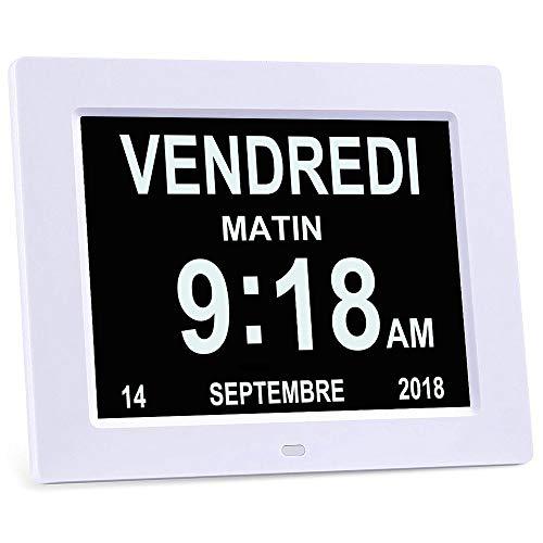 YANSENXING 8' LCD Horloge Numérique Calendrier avec Date, Horloge Calendrier avec Date, Jour et Heure | Horloge Alzheimer |...