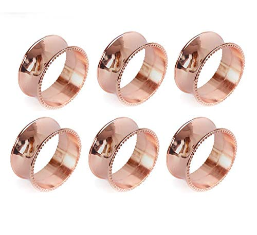 Yalulu 6 Pcs Rose Gold Round Serviette Rings Napkin Holder Wedding Banquet Party Dinner Table Decoration