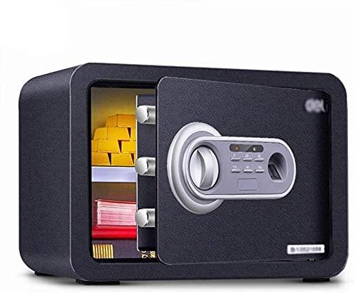 DJDLLZY Caja fuerte digital de acero electrónico con teclado, caja fuerte de 35 x 25 x 25 cm con pantalla LED, construcción de acero sólido para el hogar, hotel, oro, blanco (color: negro)