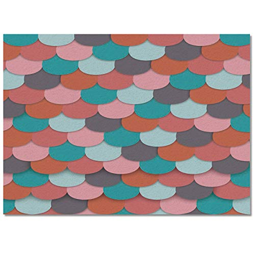 PartyShow Modern Area Rug Easy to Care, Colorful Fish Scale Roof Tiles Low Pile Skid Resistance Durable Non-Woven Fabric Floor Mat, 5' x 8'