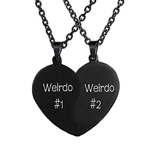 MJartoria Best Friend Necklaces BFF Necklace for 2 Friendship Valentines Day Gifts Split Heart Necklace Weirdo 1 Weirdo 2 Best Friends Forever Pendant Set (A-Weirdo 1 Weirdo 2-Black)