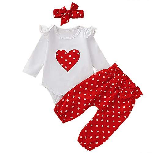 iEFiEL Baby Mädchen Kleidung Set Polka Dots Top Langarm Shirts + Pants Lang Bekleidungsset Kleinkind Outfits Rot + Weiß Strampler 62-68