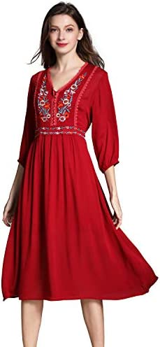 Women s Short Sleeve Mexican Embroidered Floral Pleated Midi A line Cocktail Dress S Red product image